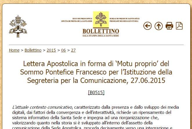 Ватикан объединяет свои информационные службы