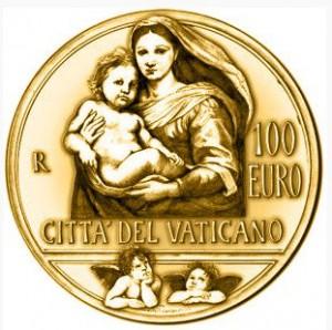 Gold coin100 euro Vatican