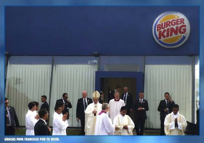 Компания Burger King поблагодарила Франциска за выбор ее ресторана