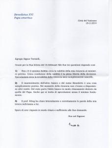 Ответ Бенедикта XVI журналисту Андреа Торниелли