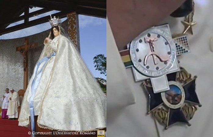 Франциск подарил орден с распятым на серпе и молоте Христом Деве Марии Копакабанской