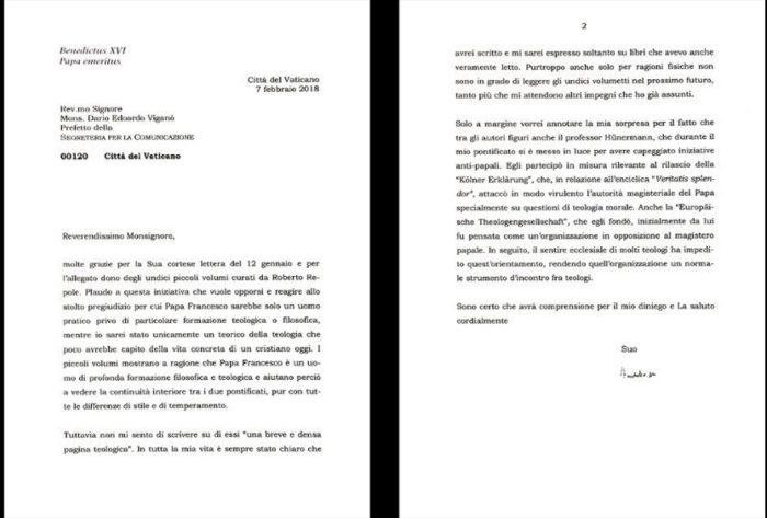 Полный текст письма Бенедикта XVI